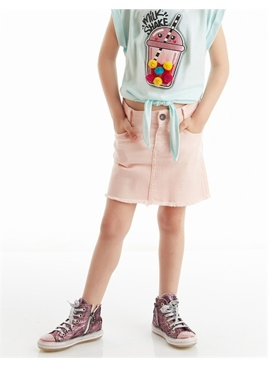 Denokids Pembe Denim Mini Kız Etek Pembe